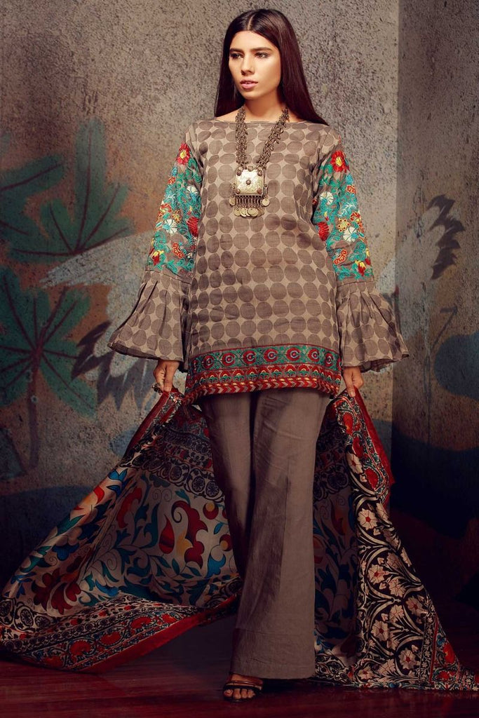 Khaadi Classics Lawn Collection 2018 – H18107 Grey 3Pc