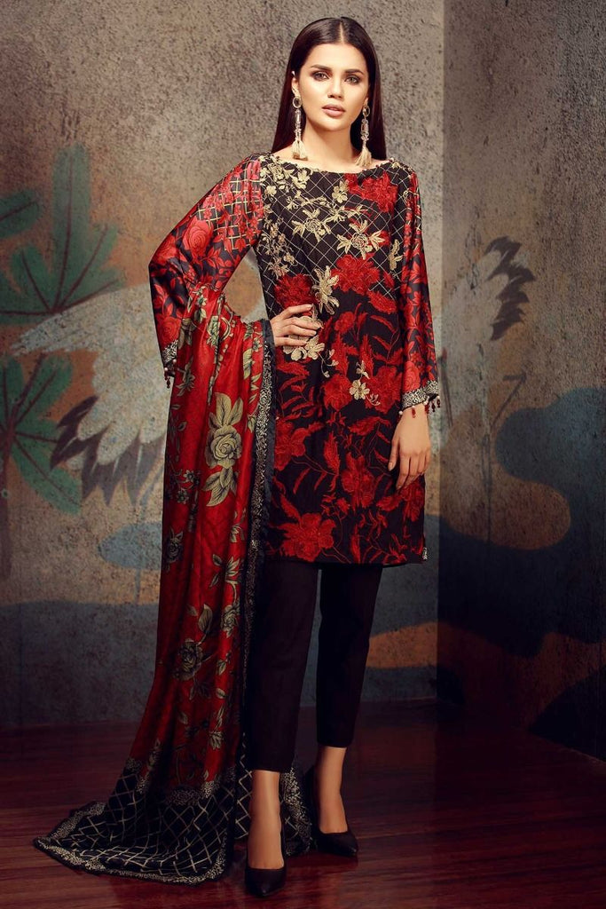 Khaadi Classics Lawn Collection 2018 – HH18101 Black 3Pc