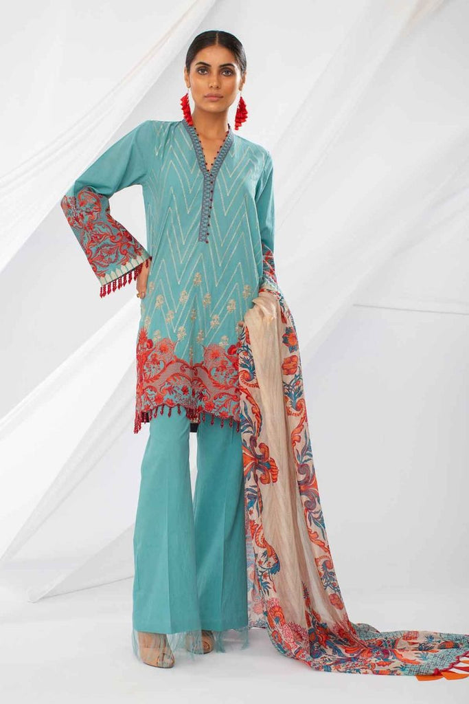 Khaadi Mid Summer Lawn Collection 2018 – HH18301 Blue 3Pc