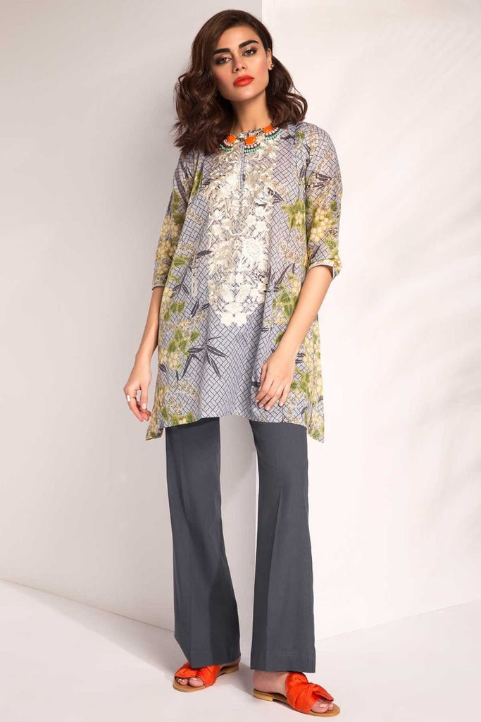 Khaadi Tropical Escape Lawn Collection 2018 – I18101 Grey 2Pc