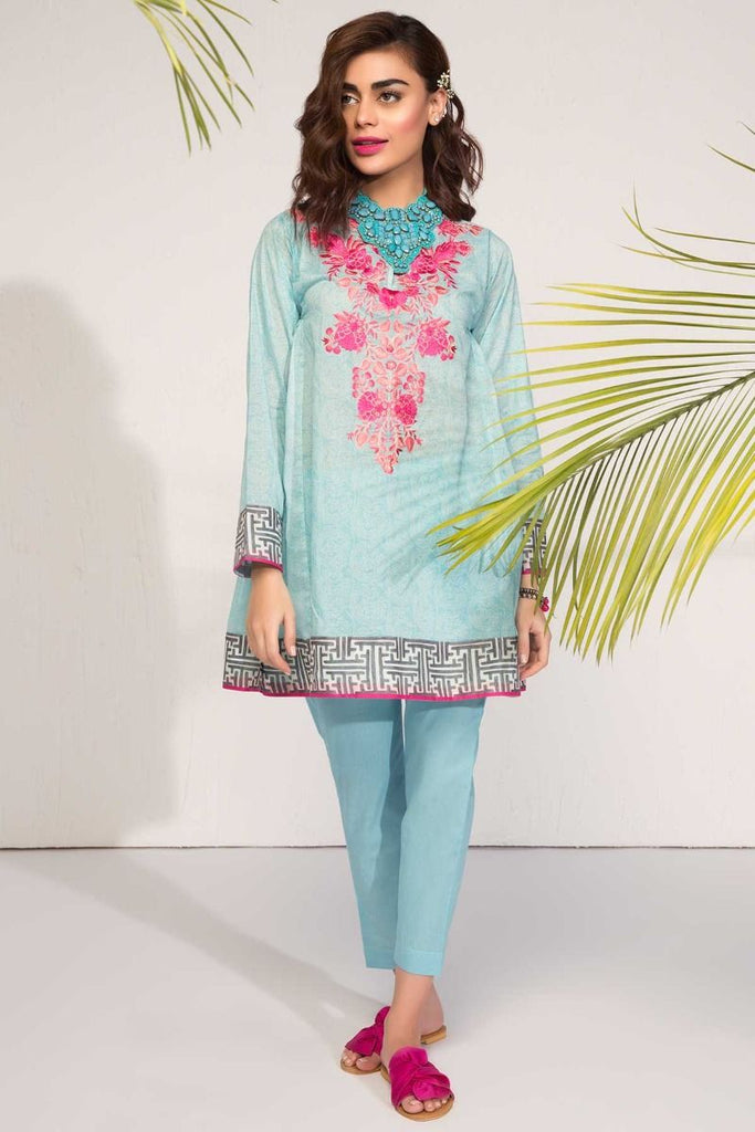 Khaadi Tropical Escape Lawn Collection 2018 – I18104 Blue 2Pc