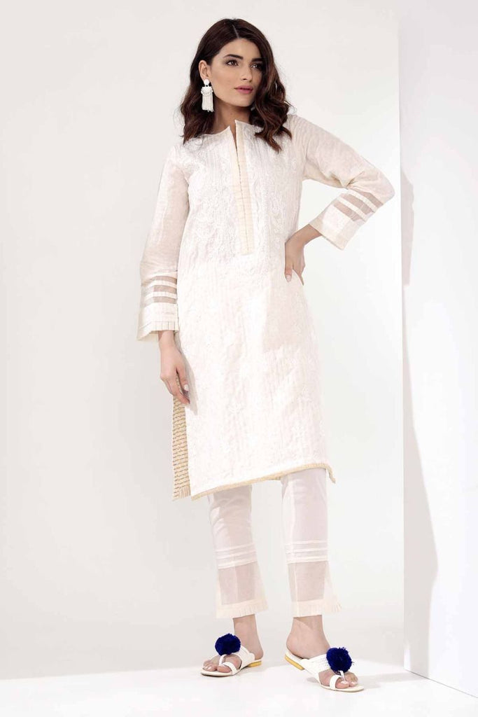 Khaadi Mid Summer Lawn Collection 2018 – I18303 Off White 2Pc