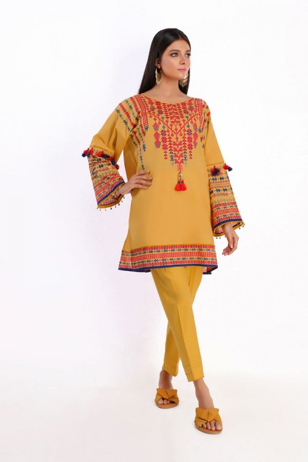 Khaadi Feel Free Spring Lawn Collection 2020 – Shirt Shalwar – I20106 Yellow