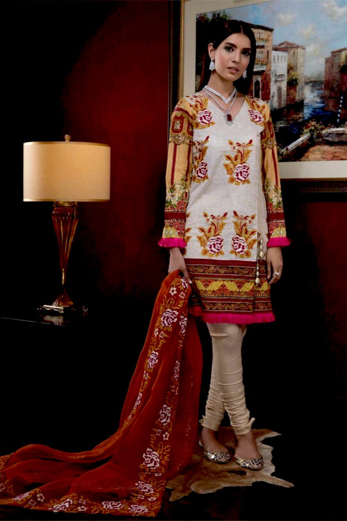 Hina Shah Luxury Lawn Collection 2018 – HS-12
