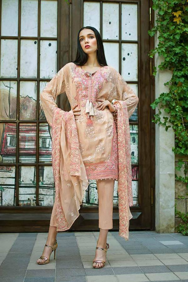 a5b32d7f17 Gul Ahmed Formal Brights Collection 2019 – PS09 – Floral Frame ...