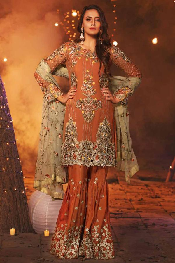 EmbRoyal Dewan-e-Khas Luxury Chiffon Wedding Collection – 06-Imperial Rust