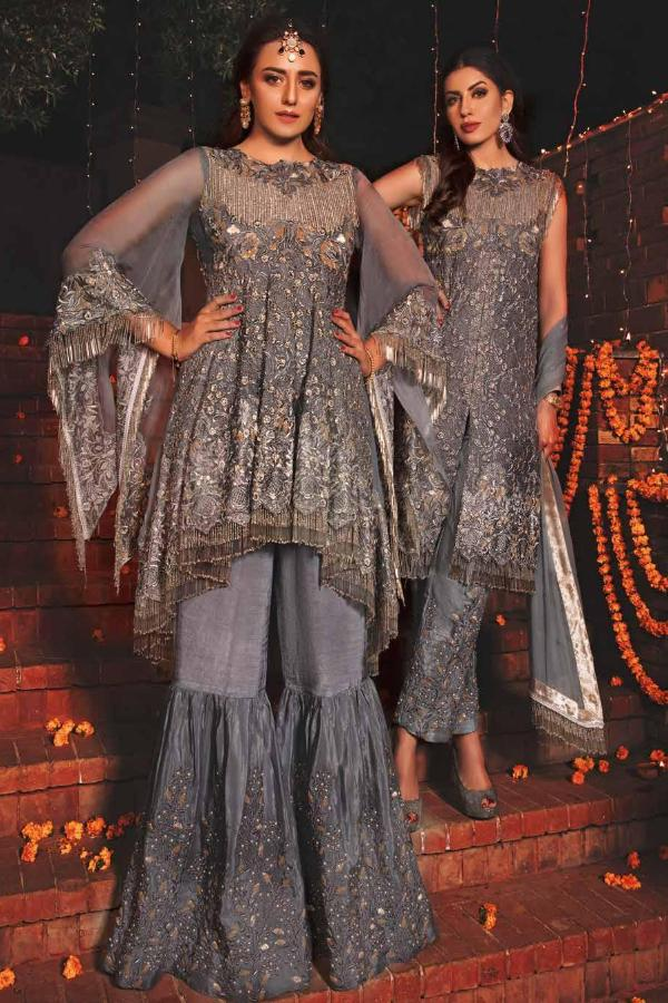 EmbRoyal Dewan-e-Khas Luxury Chiffon Wedding Collection – 08-Dusky Grey