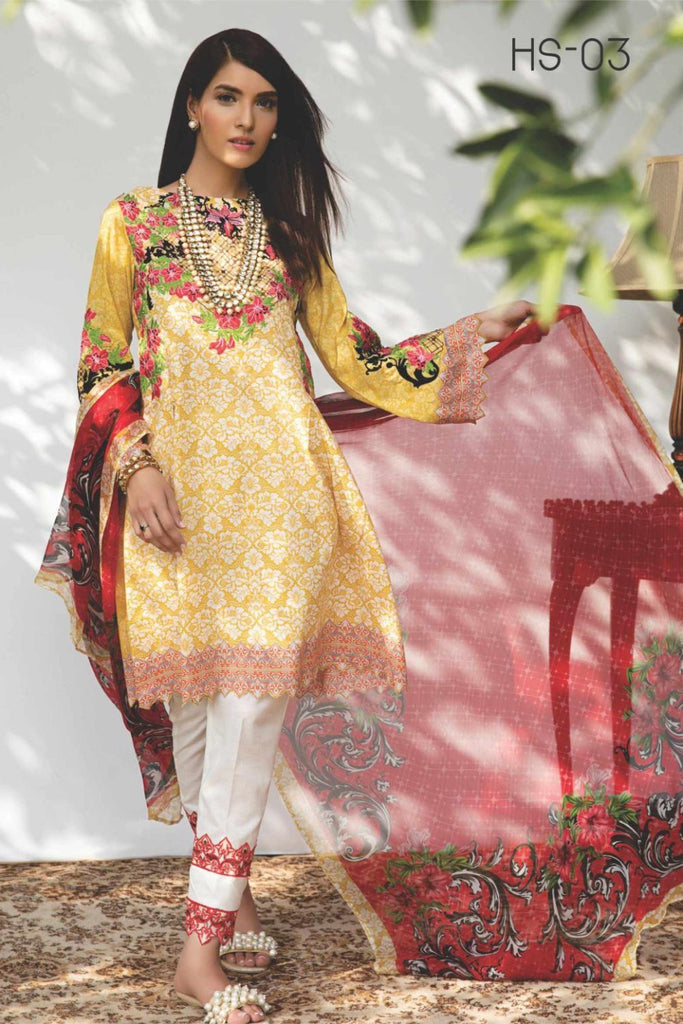 Hina Shah Luxury Lawn Collection 2018 – Njano HS-03