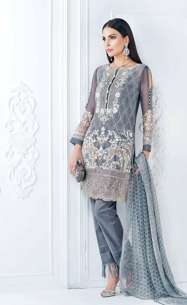 Gul Ahmed Luxury Festive Eid Collection - Grey 3 Pc Premium Embroidered Chiffon FE-18