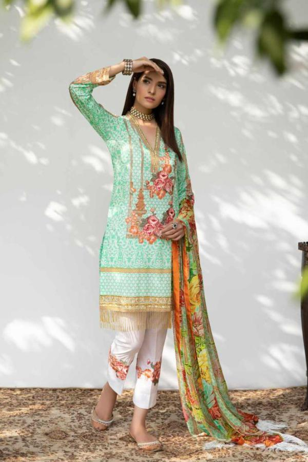 Hina Shah Luxury Lawn Collection 2018 – Bahari HS-05