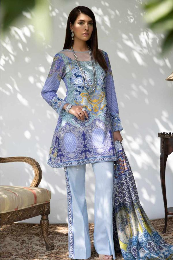 Hina Shah Luxury Lawn Collection 2018 – Bluu HS-06