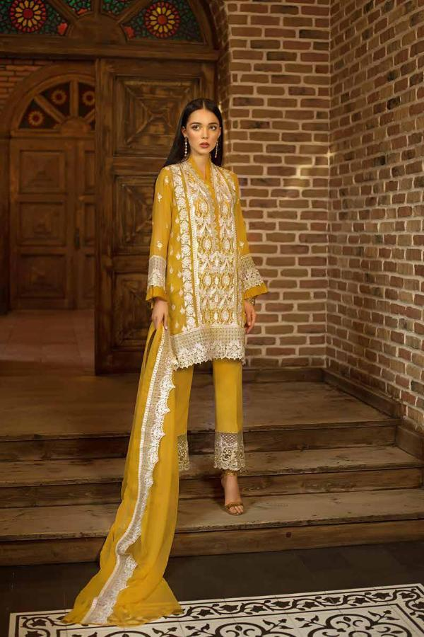 Gul Ahmed Formal Brights Collection 2019 – PS01 – Mustard Fields