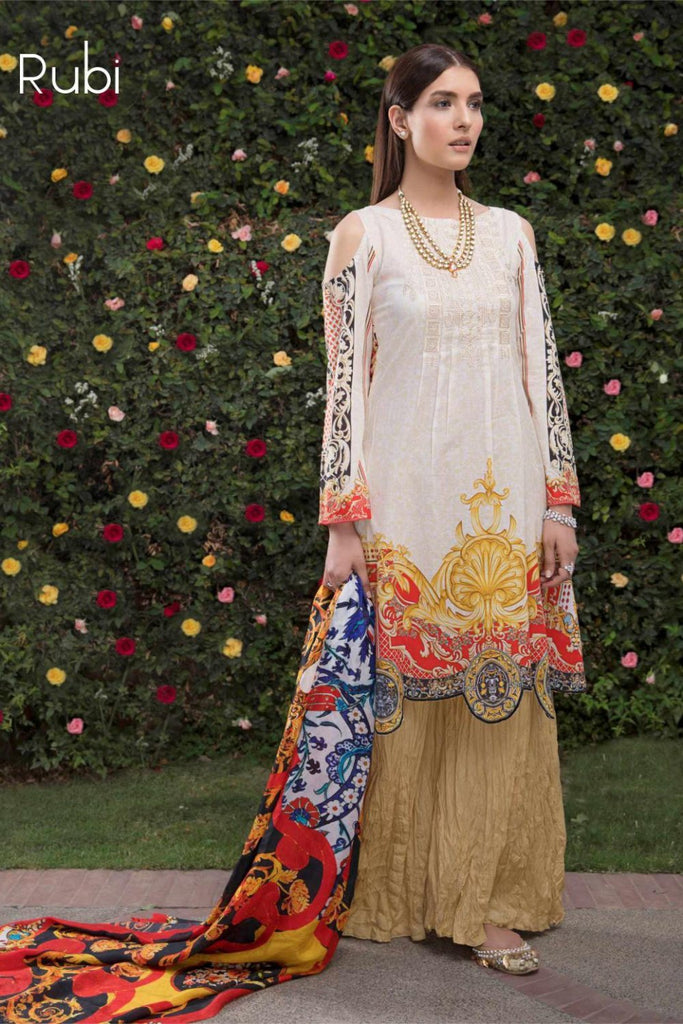 Hina Shah Luxury Lawn Collection 2018 – Rubi HS-08