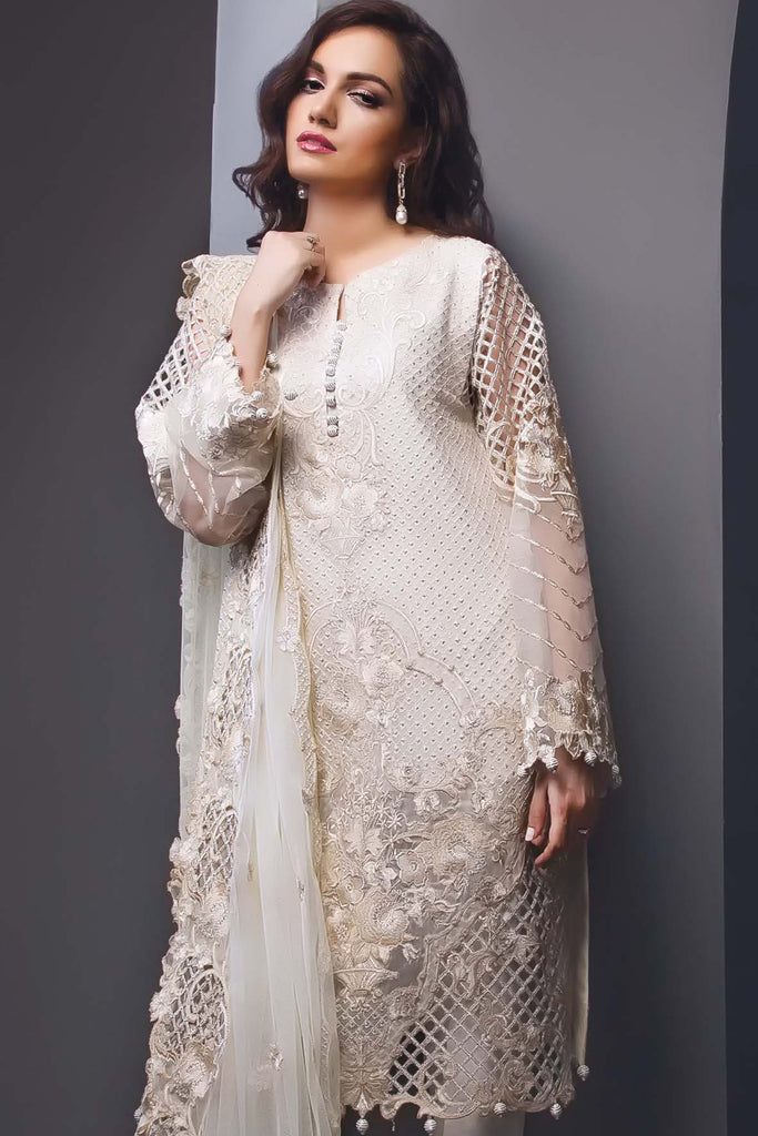 Anaya Festive Chiffon Collection –Ivory Mist - YourLibaas  - 1