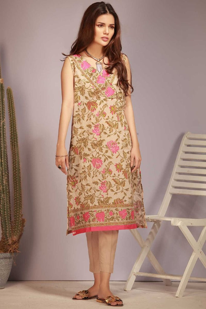 Khaadi Tropical Escape Lawn Collection 2018 – J18104 Beige 2Pc
