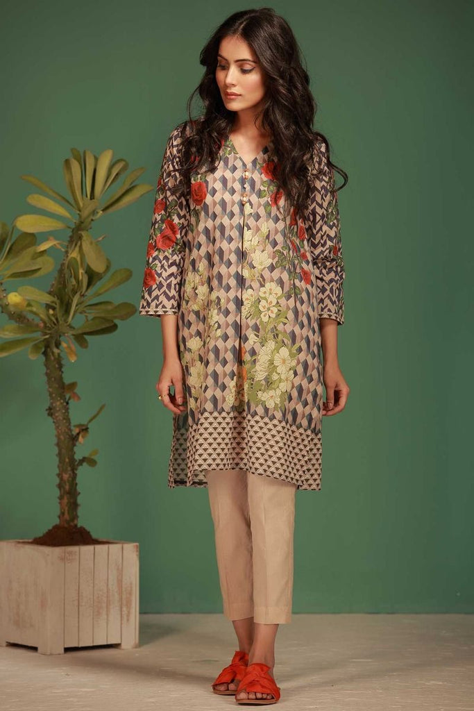Khaadi Tropical Escape Lawn Collection 2018 – J18105 Beige 2Pc
