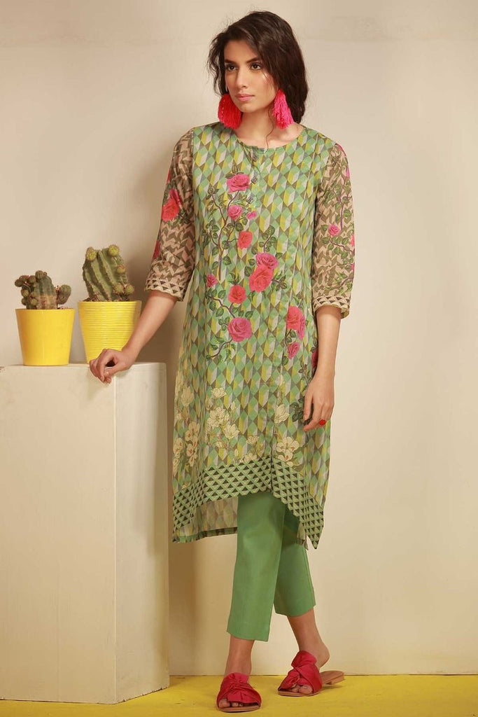 Khaadi Tropical Escape Lawn Collection 2018 – J18105 Green 2Pc