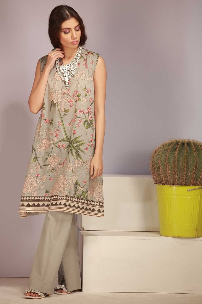 Khaadi Tropical Escape Lawn Collection 2018 – J18108 Grey 2Pc