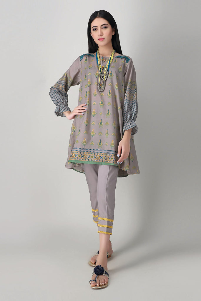 Khaadi Spring Collection 2021 – 2PC Suit · Printed Kameez Pants · J21110 Grey