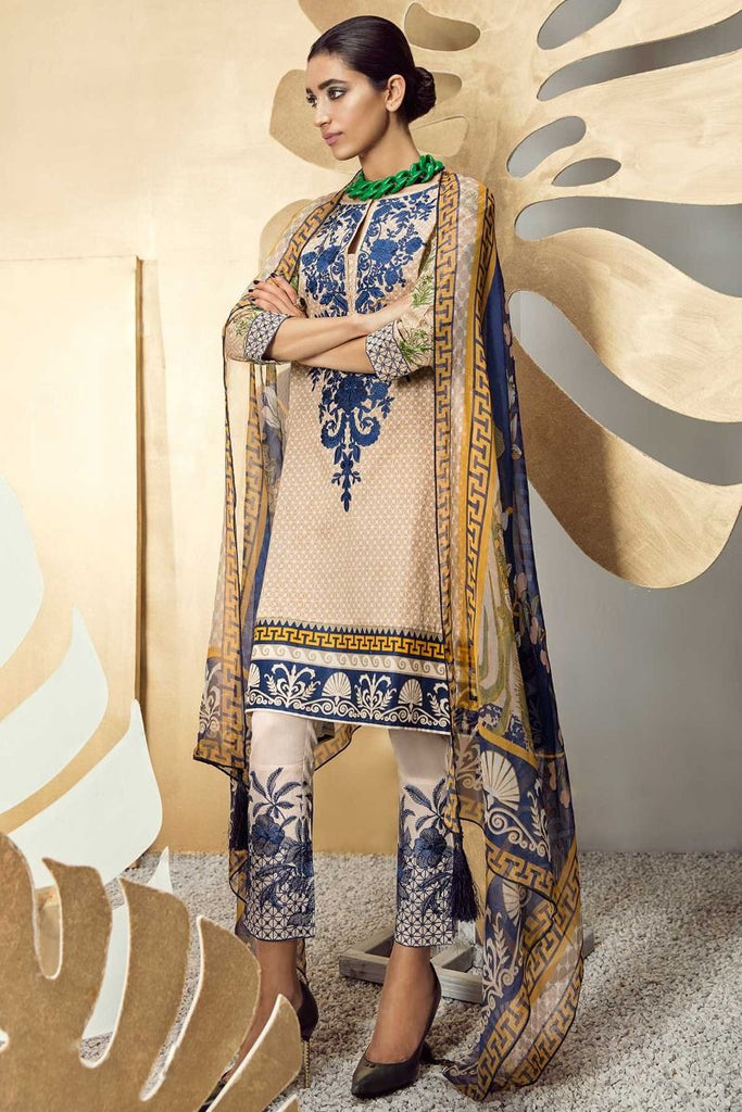 Khaadi Classics Lawn Collection 2018 – K18102 Beige 3Pc