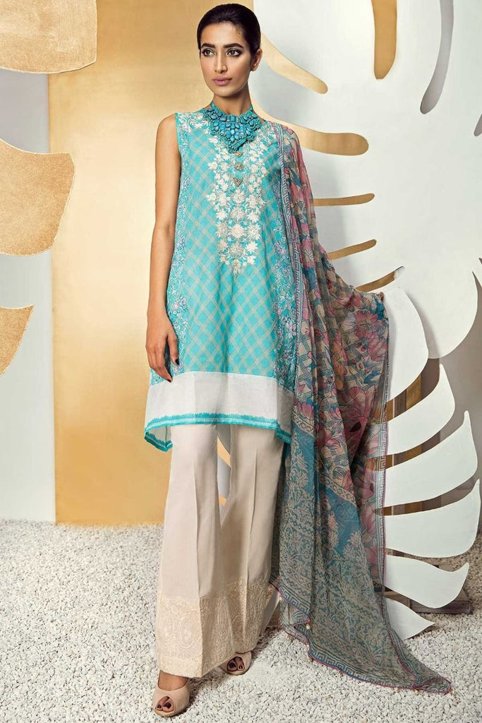 Khaadi Classics Lawn Collection 2018 – K18104 Blue 3Pc