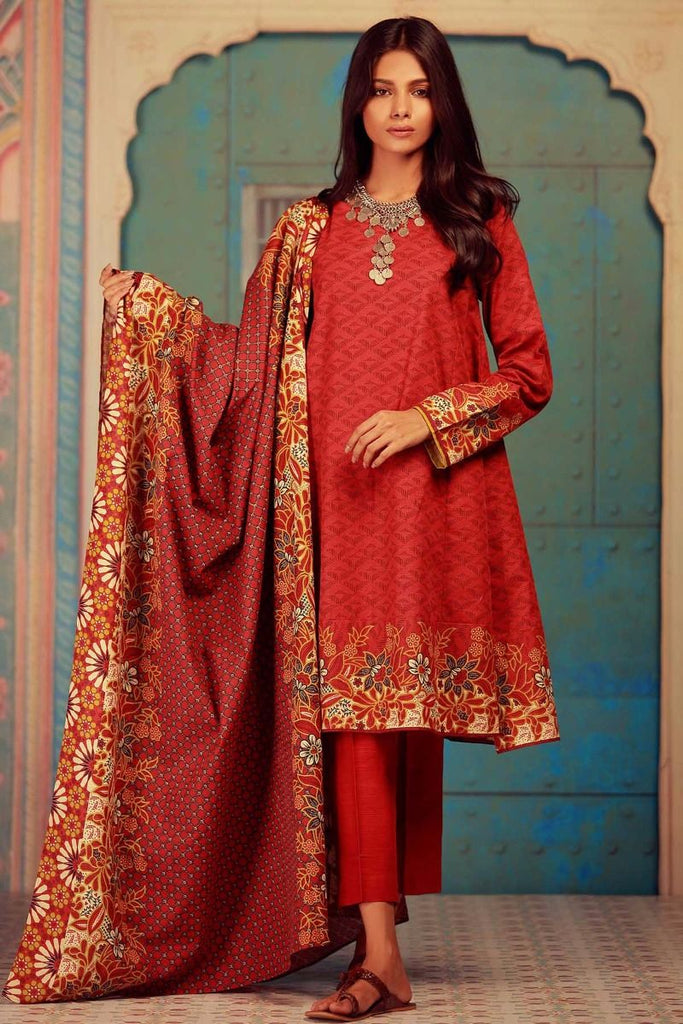 Khaadi Winter Collection 2017 – KA17603 Red 3Pc