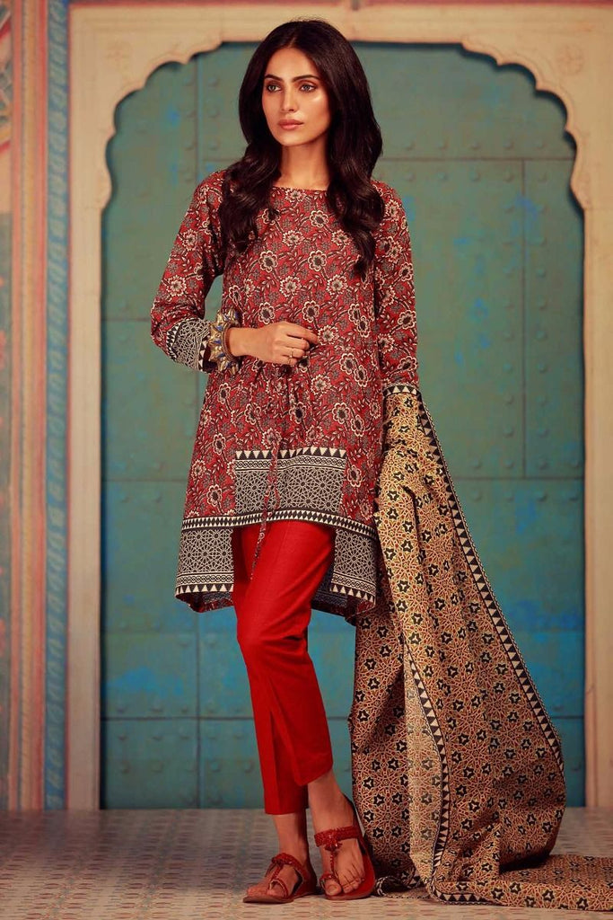 Khaadi Winter Collection 2017 – KA17606 Red 3Pc