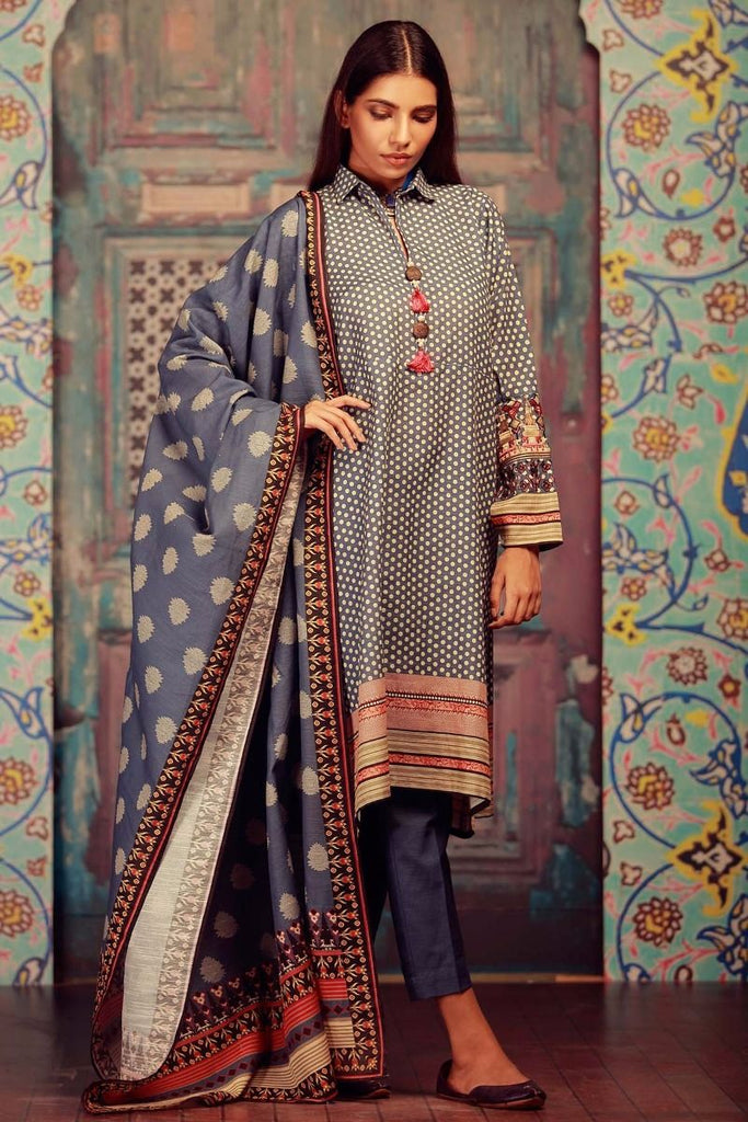 Khaadi Winter Collection 2017 – KB17601 Blue 3Pc
