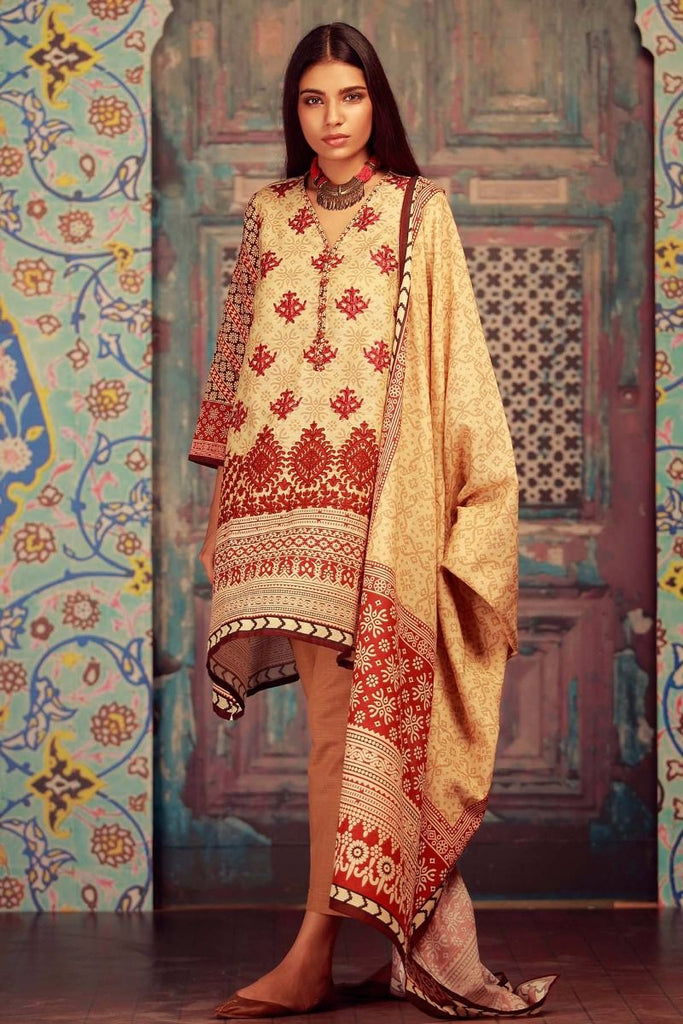 Khaadi Winter Collection 2017 – KB17605 Beige 3Pc