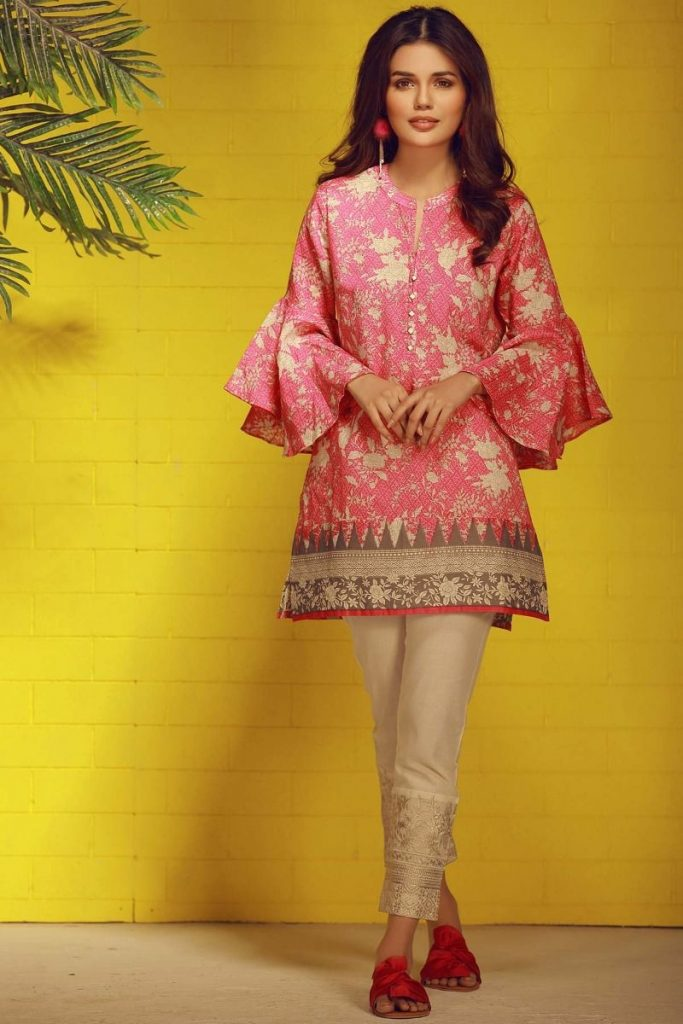 Khaadi Tropical Escape Lawn Collection 2018 – T18102 Pink 2Pc