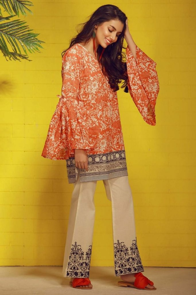 Khaadi Tropical Escape Lawn Collection 2018 – T18104 Orange 2Pc