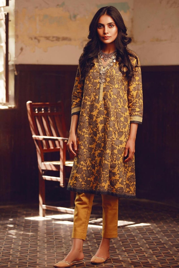 Khaadi Winter Collection 2017 – KJ17606 Yellow 2Pc