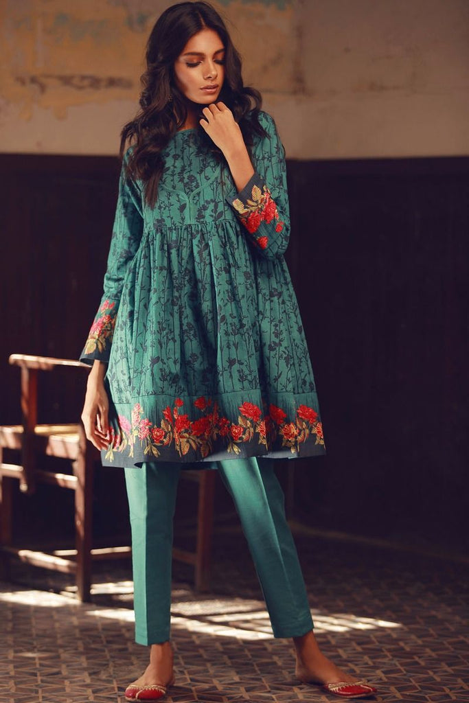 Khaadi Winter Collection 2017 – KJ17609 Teal 2Pc
