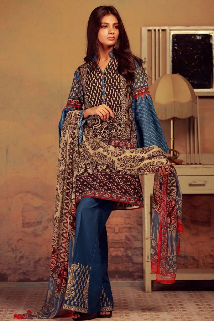 Khaadi Winter Collection 2017 – KK17603 Blue 3Pc
