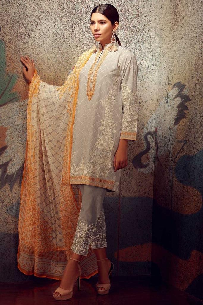 Khaadi Classics Lawn Collection 2018 – KK18102 Grey 3Pc
