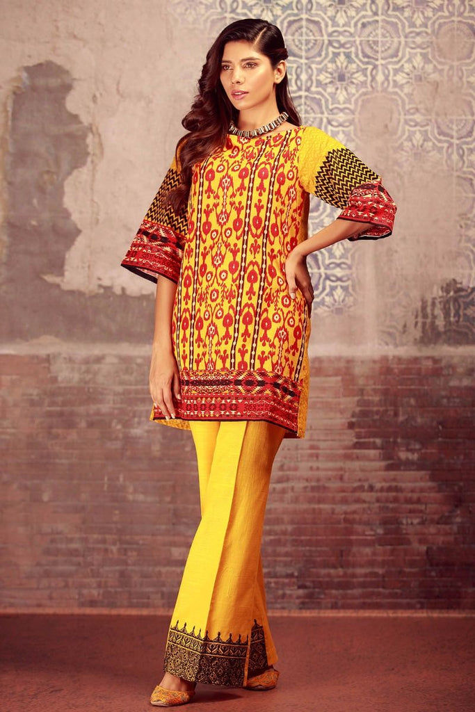 Khaadi Winter Collection 2017 – KN17603 Yellow 2Pc