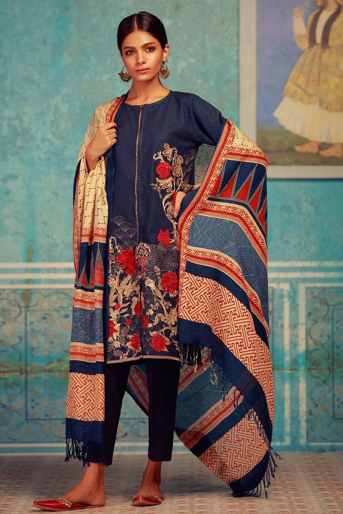 Khaadi Winter Collection 2017 – KO17608 Navy Blue 3Pc