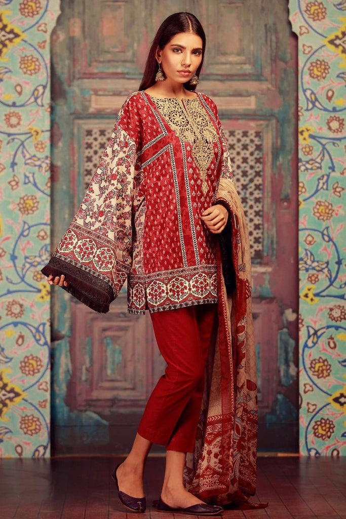 Khaadi Winter Collection 2017 – KR17602 Maroon 3PC