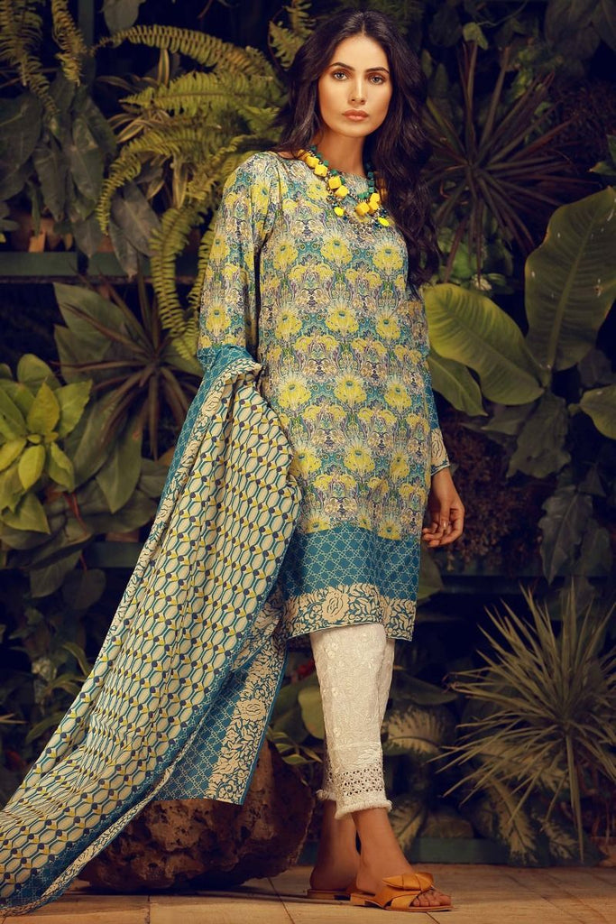 Khaadi Tropical Escape Lawn Collection 2018 – L18101 Blue 2Pc