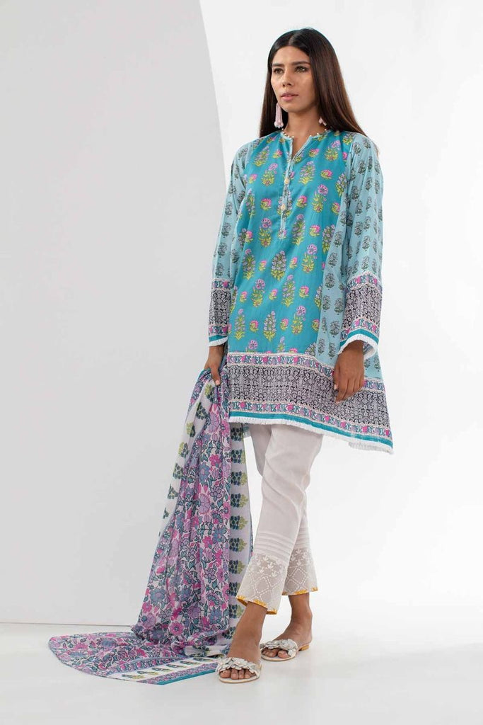 Khaadi Mid Summer Lawn Collection 2018 – L18304 Blue 2Pc