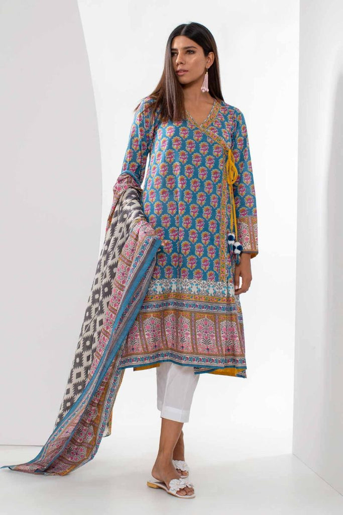 Khaadi Mid Summer Lawn Collection 2018 – L18309 Blue 2Pc