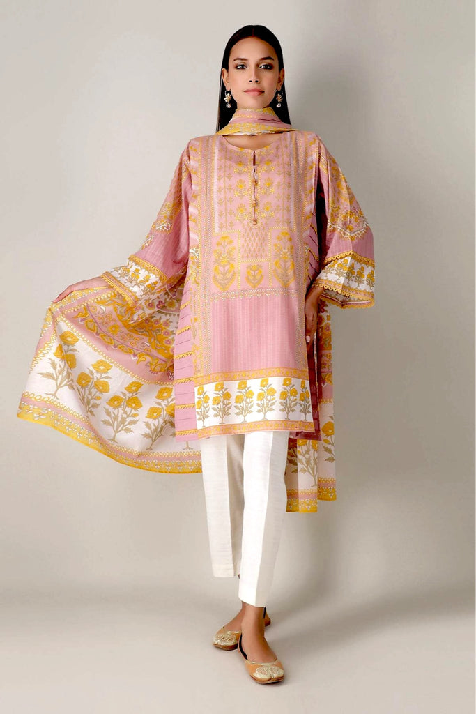 Khaadi Spring Collection 2021 – 2PC Suit · Printed Kameez Dupatta · L21102 Pink