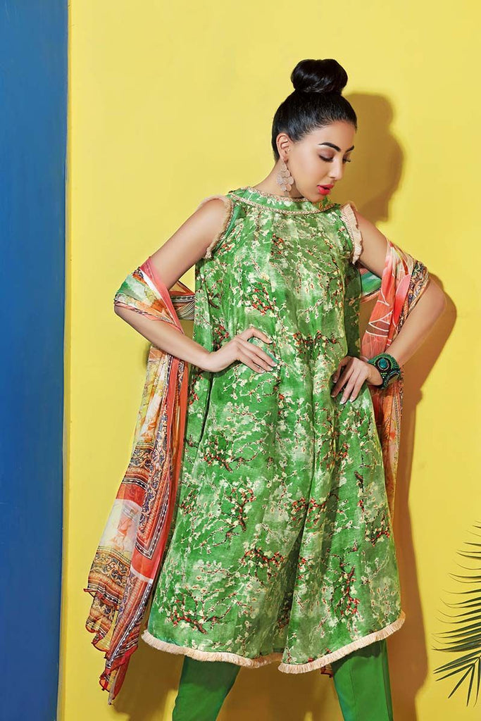 Gul Ahmed Summer Premium Collection 2018 – Green 3 Pc Silk Linen LC-12