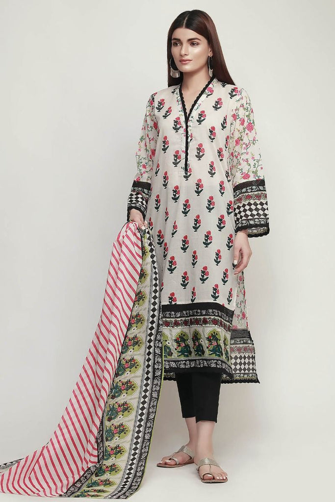 Khaadi Early Spring/Summer Lawn Collection 2019 V2 – LR19107 Off White 2Pc