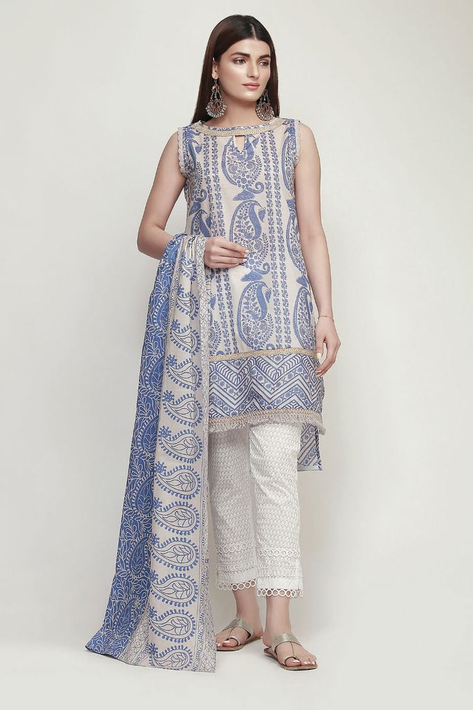 Khaadi Early Spring/Summer Lawn Collection 2019 V2 – LR19109 Blue 2Pc