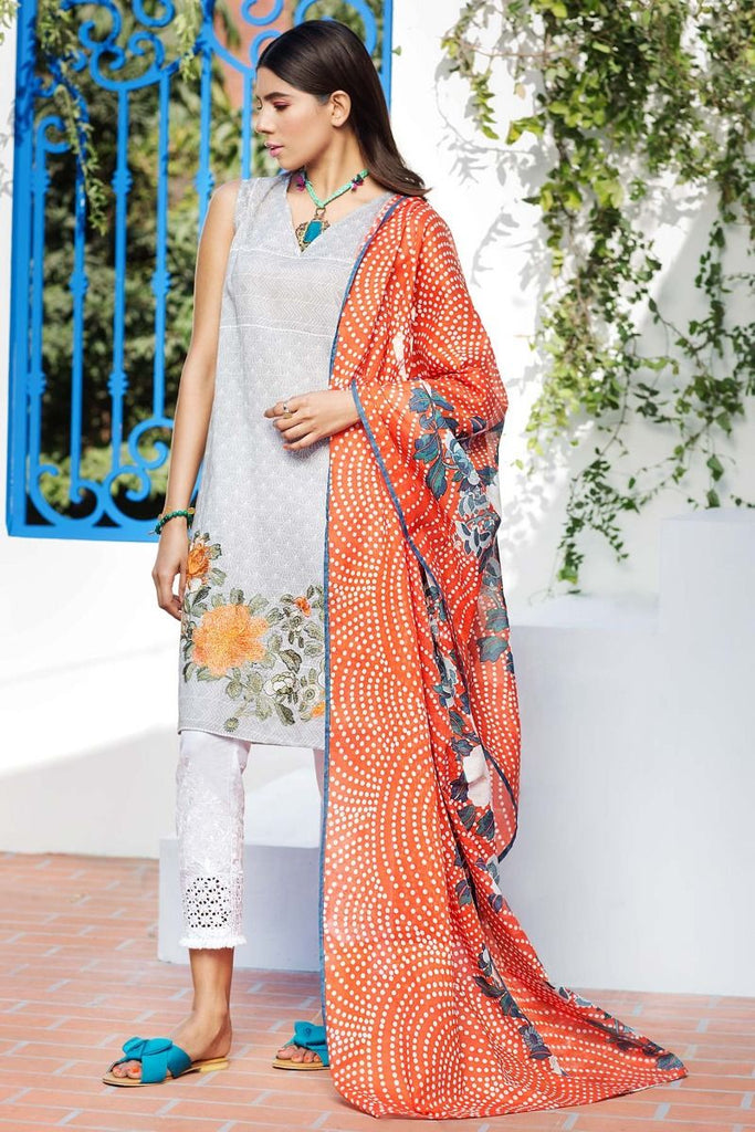 Khaadi Tropical Escape Lawn Collection 2018 – M18116 Grey 2Pc