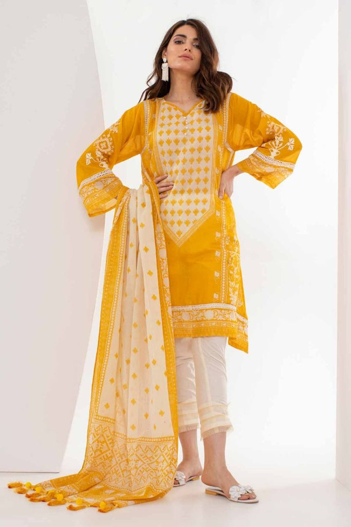 Khaadi Mid Summer Lawn Collection 2018 – M18301 Yellow 2Pc
