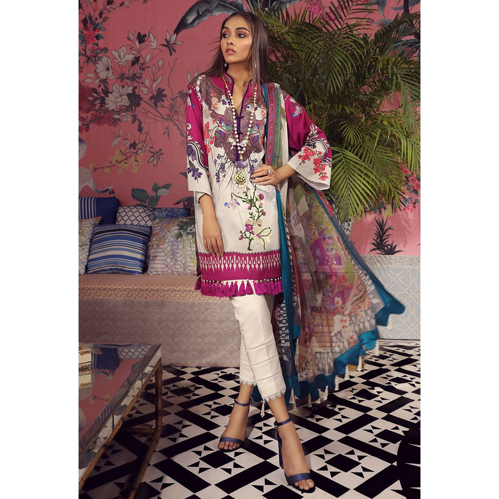 Sana Safinaz Muzlin Lawn Collection 2019 – 03B - Solferino