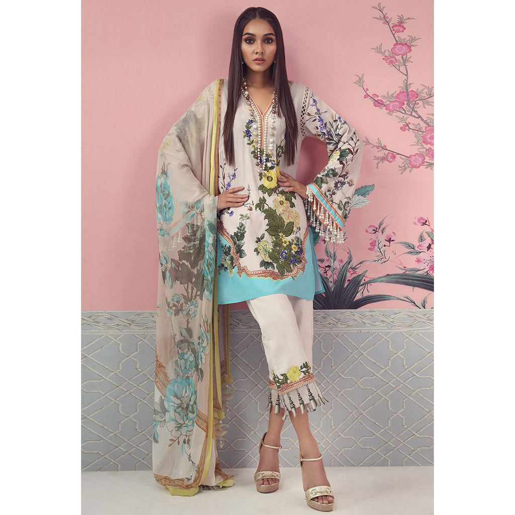 Sana Safinaz Muzlin Lawn Collection 2019 – 07A - Springtide