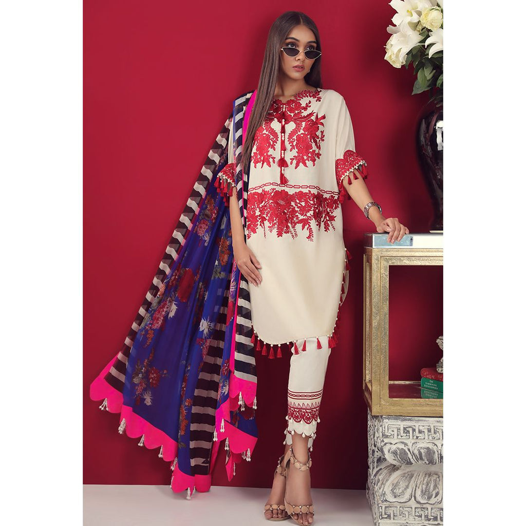 Sana Safinaz Muzlin Lawn Collection 2019 – 09B - Red-dy